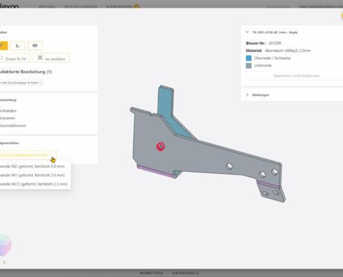 Mit dem eingebauten CAD können Sie bei Blexon direkt die Gewindegrösse festlegen