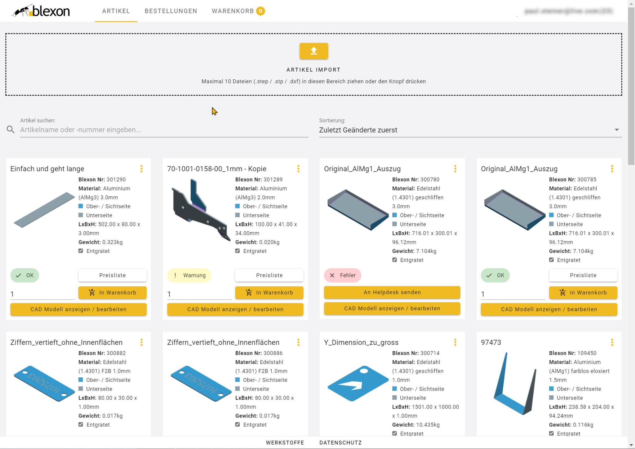 Neuer Shop mit Drag and Drop, schnellem Laden, schneller Suche und voll responsive auch auf mobilen Geräten
