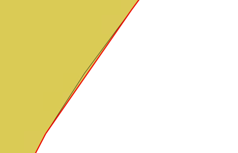 Abweichung zwischen der Splinekurve und der tatsächlichen Schnittkurve