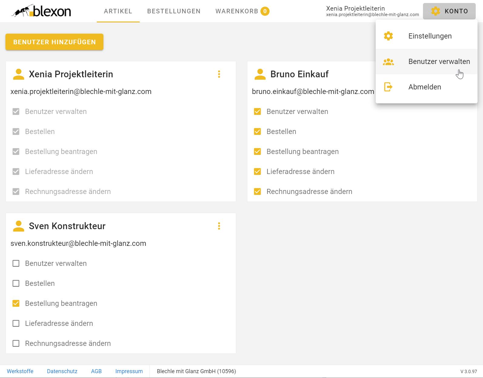 In der Blexon Benutzerverwaltung können Mitarbeiter hinzugefügt und deren Berechtigungen angepasst werden