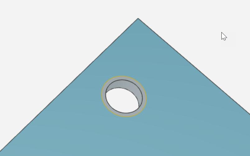 Erkannte Senkungen können auch abgelehnt werden. Blexon schneidet dann nur das Durchgangsloch und graviert den Senkungsdurchmesser