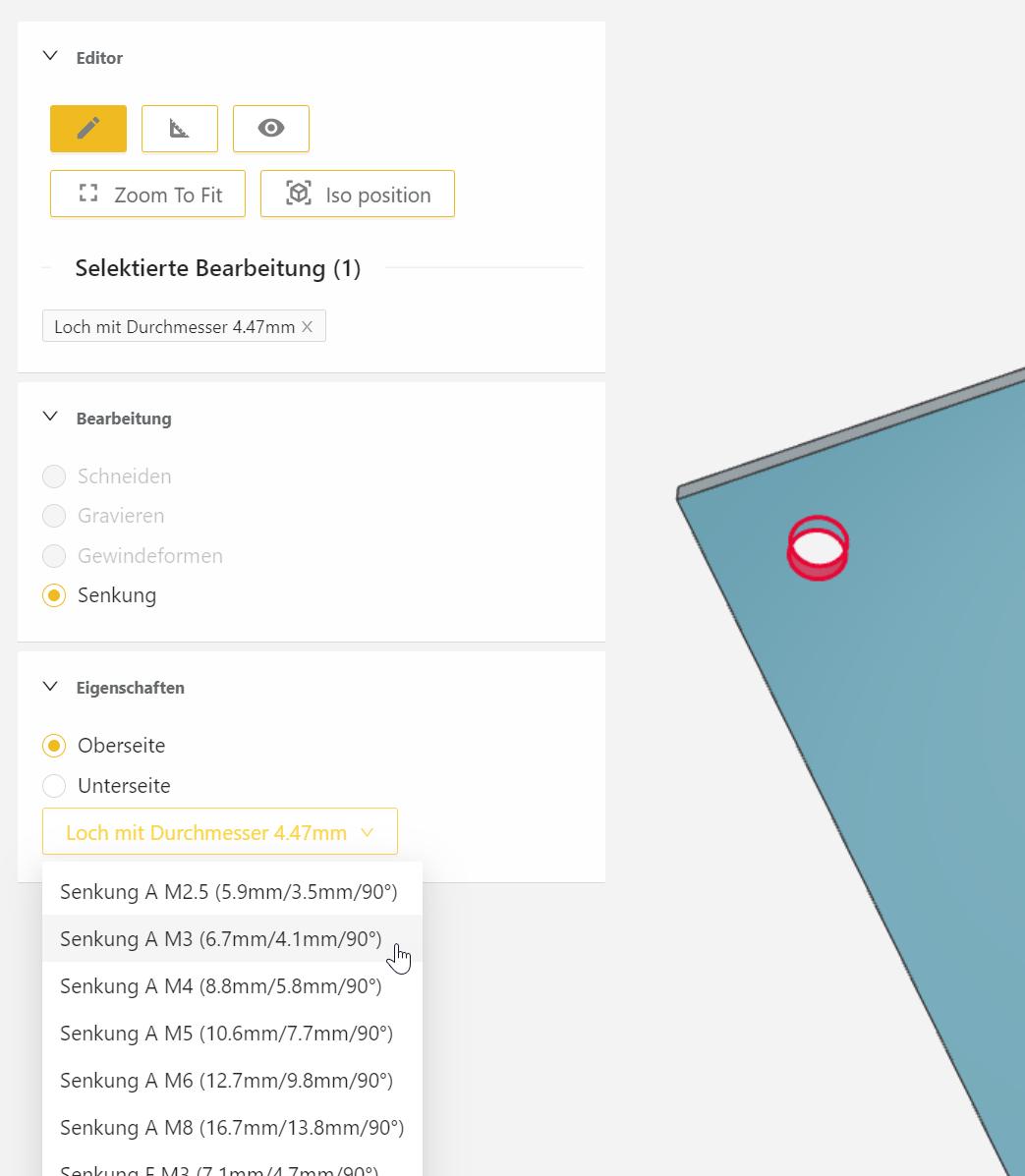 Im In-Browser CAD von Blexon können Sie auch Bohrungen als Senkungen definieren und fertigen lassen