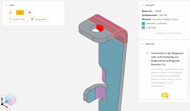 Mit dem CAD von Blexon können Sie Ihre Blechkonstruktion überprüfen, messen und bearbeiten. Wir liefern genau das Teil, welches wir hier anzeigen. WYSIWYG